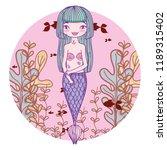 mermaid swimming undersea | Shutterstock .eps vector #1189315402