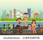 parent and children at the park ... | Shutterstock .eps vector #1189338958