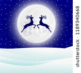 reindeer jumps against the... | Shutterstock . vector #1189340668