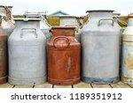 old aluminum milk cans set. | Shutterstock . vector #1189351912