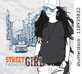 cute fashion girl on a street... | Shutterstock .eps vector #118935832