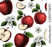 apples  and flowers. vector... | Shutterstock .eps vector #1189370692