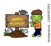cute cartoon halloween vector. | Shutterstock .eps vector #1189391392
