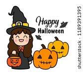 cute cartoon halloween vector. | Shutterstock .eps vector #1189391395