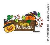cute cartoon halloween vector. | Shutterstock .eps vector #1189391398