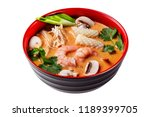 bowl of thai tom yum soup... | Shutterstock . vector #1189399705