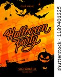 halloween party poster with... | Shutterstock .eps vector #1189401325