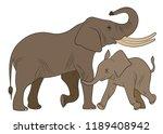 elephant. family.  vector... | Shutterstock .eps vector #1189408942