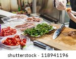 preparation of canapes in... | Shutterstock . vector #118941196