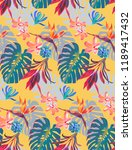 vintage colourful tropical... | Shutterstock .eps vector #1189417432