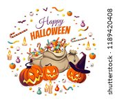 banner with pumpkins and bags... | Shutterstock .eps vector #1189420408