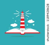 open book with lighthouse or... | Shutterstock .eps vector #1189428628
