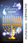 hanukkah greeting card with... | Shutterstock .eps vector #1189446745