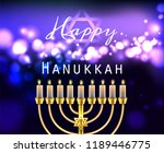 hanukkah greeting card with... | Shutterstock .eps vector #1189446775
