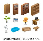 furniture isometric icons....   Shutterstock .eps vector #1189455778