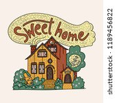 country doodle detailed cottage ... | Shutterstock .eps vector #1189456822