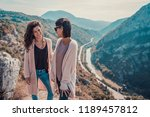 two beautiful young female... | Shutterstock . vector #1189457812