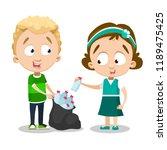 kids picking up plastic bottles ... | Shutterstock .eps vector #1189475425