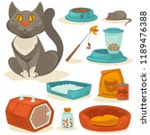Stock photo cat accessories set pet supplies food toys mouse bowl and box toilet and equipment for 1189476388