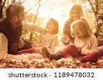 class on autumn day. little... | Shutterstock . vector #1189478032