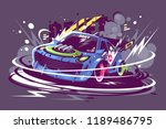 power racing sport car drifting ... | Shutterstock .eps vector #1189486795
