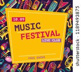 music festival poster. colorful ... | Shutterstock .eps vector #1189493875