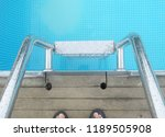 way down the pool stairs. | Shutterstock . vector #1189505908