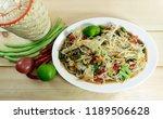 spicy green papaya salad   thai ... | Shutterstock . vector #1189506628