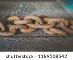 rusty steel chain. | Shutterstock . vector #1189508542