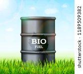 metal barrel with bio fuel on... | Shutterstock .eps vector #1189509382