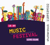 music festival poster. colorful ... | Shutterstock .eps vector #1189539532