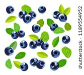 set of blueberry icons. sweet... | Shutterstock .eps vector #1189554952
