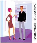man and woman talking in office ... | Shutterstock .eps vector #1189556092