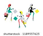 fashion chic style girl running ... | Shutterstock .eps vector #1189557625