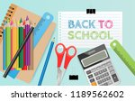back to school text on paper... | Shutterstock .eps vector #1189562602