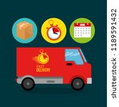 truck with delivery service...   Shutterstock .eps vector #1189591432