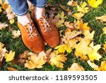 autumn. the girl is walking in... | Shutterstock . vector #1189593505