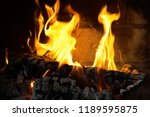 burning firewood in the... | Shutterstock . vector #1189595875
