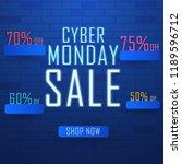 neon text cyber monday sale...   Shutterstock .eps vector #1189596712