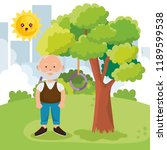 grandfather on park character | Shutterstock .eps vector #1189599538