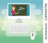 teacher woman with desktop... | Shutterstock .eps vector #1189603768