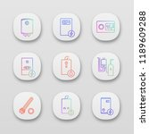 heating app icons set. ui ux...