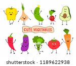 cute vegetables set in cartoon... | Shutterstock .eps vector #1189622938