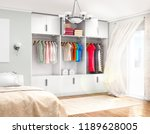 spacious room with a bed  open...   Shutterstock . vector #1189628005