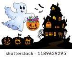 halloween ghost near haunted... | Shutterstock .eps vector #1189629295