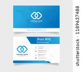 official business card in blue... | Shutterstock .eps vector #1189637488