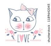 cute cat vector design. girly... | Shutterstock .eps vector #1189642045