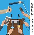 rostrum  tribune and hands of... | Shutterstock .eps vector #1189671205