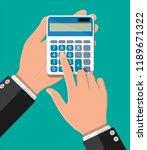 hand with calculator. financial ... | Shutterstock .eps vector #1189671322