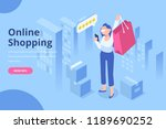 isometric woman with shopping... | Shutterstock .eps vector #1189690252